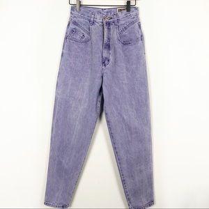 Vintage Purple acid wash hi rise tapered leg jeans